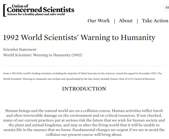 全球科学家第二次警告:人类无节制将造成灾难性气候变化